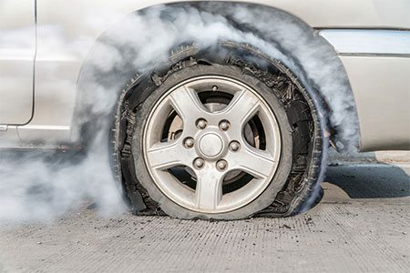 If you blow out a tire call Paule Towing.